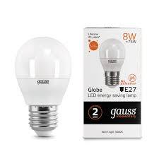 53218 <b>Лампа Gauss LED</b> Elementary <b>Globe</b> 8W E27 2700K 1/10/100
