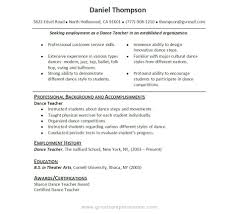 dance instructor resumes template dance instructor resumes