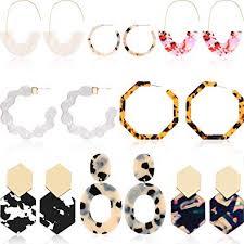 8 Pairs Resin Drop Hoop Dangle Earrings Acrylic ... - Amazon.com