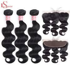 <b>LS Hair Brazilian</b> Body Wave Hair 3 Bundles With Frontal 13X4 ...