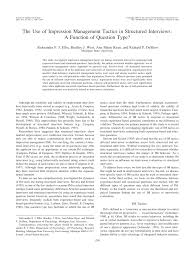 academic paper the use of impression management tactics in academic paper the use of impression management tactics in structured interviews a function of question type