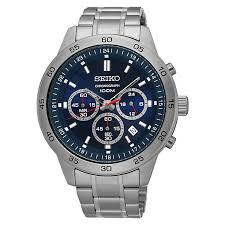 men s seiko watches h samuel seiko men s stainless steel blue dial watch product number 4938615