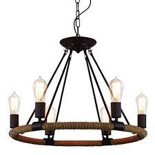 <b>Vintage Industrial Hemp Rope</b> Living Room Chandelier Fixtures ...