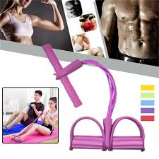 Fitness <b>Tension</b> Rope 4 Tube Resistance Bands <b>Latex Pedal</b> ...