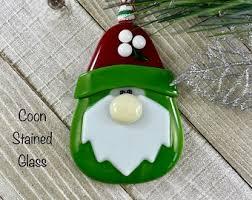 Fused Glass Garden Gnome Ornament <b>green</b> swirl <b>mushroom</b> hat ...