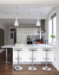 Kitchen Breakfast Bar Modern White Kitchen With Hi Gloss Units And Breakfast Bar