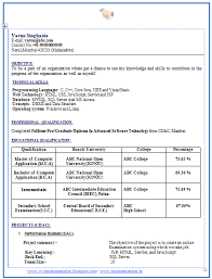Resume Format Mca Student resume format mca   Than       CV Formats For Free Download