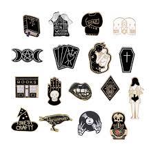 High Quality Ladies <b>Black Enamel</b> Broochs <b>Skeleton</b> CD <b>Palm</b> ...