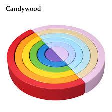 2018 New <b>Colorful Wood Rainbow</b> Building Blocks Toys Creative ...