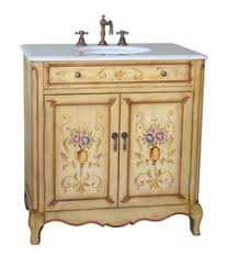 traditional style antique white bathroom: adelina  inch antique hand painted bathroom vanity