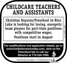 first lutheran church rice lake childcare teachers and ads for first lutheran church rice lake in rice lake wi