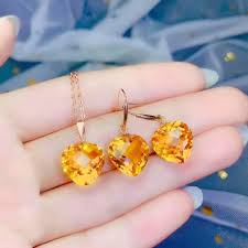 2019 <b>Shilovem 18k Yellow Gold</b> Citrine Pendants Stud Earrings ...