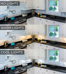 under shelf lighting. this under cabinet lighting comparison shows the stark difference lights make in a kitchen shelf