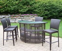 bar height patio chair: patio furniture bar height table with  wicker height patio chairs and brick motif tiles