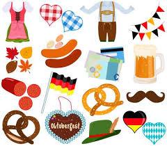 Illustration set of cute Oktoberfest Dirndl Lederhosen dress,.. Vector