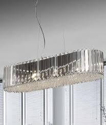 <b>820mm</b> Wide Crystal & Chrome Suspended Pendant <b>Light</b>