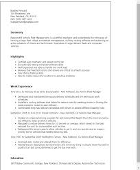 professional vehicle fleet manager templates to showcase your    resume templates  vehicle fleet manager