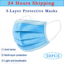 <b>50PCS Medical Mask</b> 3 Layers <b>Disposable</b> Face <b>Mask</b> Virus Filter ...