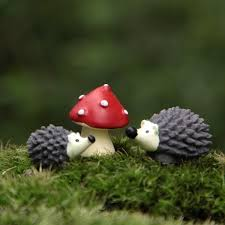 <b>3Pcs</b>/<b>Set Artificial</b> Mini Hedgehog with Red Dot Mushroom ...