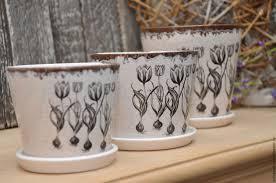 Набор <b>кашпо</b> керамика молочные с Тюльпанами, Прованс, Кантри