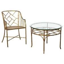 faux bamboo set of side chair and table in the style of adnet and jean royere bamboo furniture