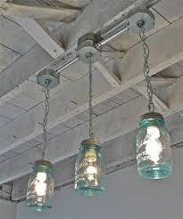 handcrafted blue green vintage mason three jar track light 15000 via etsy blue track lighting