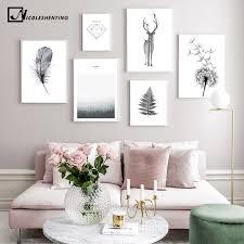 Scandinavian Poster <b>Black White Deer</b> Dandelion Nordic Style Wall ...