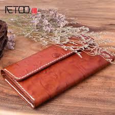 <b>AETOO Retro handmade</b> male lady leather long ultra thin wallet ...
