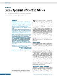 critical appraisal of scientific articles  article