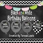 <b>Black</b> and <b>White</b> Chalkboard Birthday Balloons | Birthday balloons ...