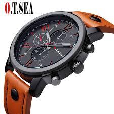 <b>2021 Hot Sales</b> O.T.SEA Brand Soft Pu Leather Watch Men Military ...
