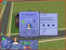 the sims university screenshots for windows mobygames choose your major each one has bonuses that ll lend themselves to different careers