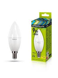 Светодиодная <b>лампочка</b> LED <b>9W</b> 3000К <b>E14 Ergolux</b> 10268328 в ...