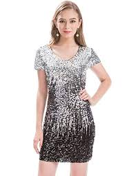 MANER <b>Women's Sequin Glitter</b> Short Sleeve Dress <b>Sexy V Neck</b> ...