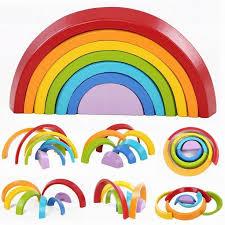 <b>7pcs</b>/<b>Lot Wooden</b> Building Blocks <b>Colorful Rainbow</b> Stacker Nesting ...