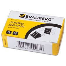<b>Зажимы для бумаг BRAUBERG</b>, КОМПЛЕКТ 12 шт., 19 мм, на 60 ...