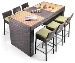 patio table and 6 chairs: pier table and  barstool patio bar set modern outdoor pub and