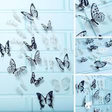 Home Décor Items <b>18Pcs 3D</b> Black And White <b>Butterfly</b> Sticker Art ...