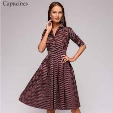 Capucines <b>Vintage</b> Patchwork Print Women Dress <b>2019 Autumn</b> ...