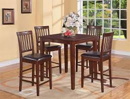 elegant square black mahogany dining table: dining room brown tall kitchen table and  chairs with leather padding tall kitchen