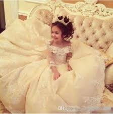 <b>2018 Lovely</b> Flower Girl Dress Off Shoulder <b>Lace Applique</b> 3/4 ...