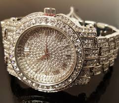 techno pave watch men hip hop iced out white gold techno pave bling simulated diamond rapper watch