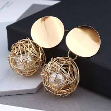 Buy European and American retro <b>geometric earrings simple</b> woven ...