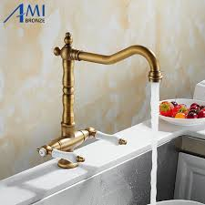 360 Swivel <b>Kitchen Faucet Antique Brass</b>/Chrome Polish Double ...