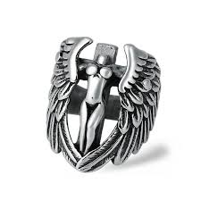 316L <b>Stainless Steel</b> Fashion Silver <b>Punk Angel</b> Wings Men Finger ...