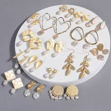 1pair New Design Matte Metal Gold Love Heart Triangle <b>Geometric</b> ...