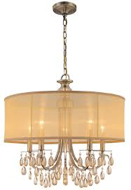 hampton light quot antique brass crystal chandelier with gold drum shade bedroom chandeliers crystal chandelier drum shade chandeliers pendants wayfair drum lighting
