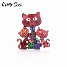 <b>Cring CoCo</b> Cartoon Cute Metal Enamel Funny Cat Brooch Pin For ...