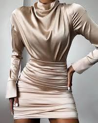 <b>High Neck</b> Ruched Satin Dress | Модные стили, Наряды ...