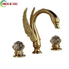 Luxury Swan Style Dual Handle <b>Bathroom</b> Mixer <b>Faucet Golden</b> ...